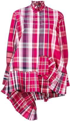 Alexander McQueen asymmetric pleated plaid shirt