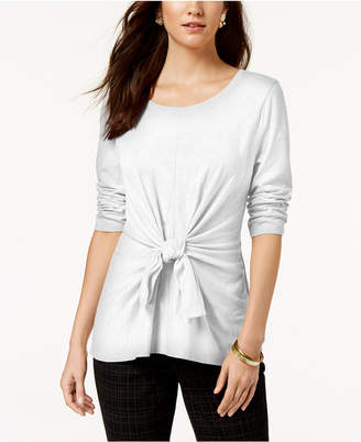Style&Co. Style & Co Tie-Front 3/4-Sleeve Top