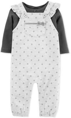 Carter's Carter Baby Girls 2-Pc. Cotton T-Shirt & Dot-Print Overalls Set