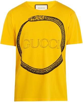 Gucci Snake and logo-print cotton T-shirt