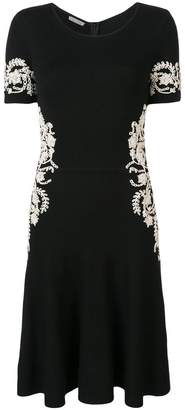 Oscar de la Renta short-sleeve embroidered dress
