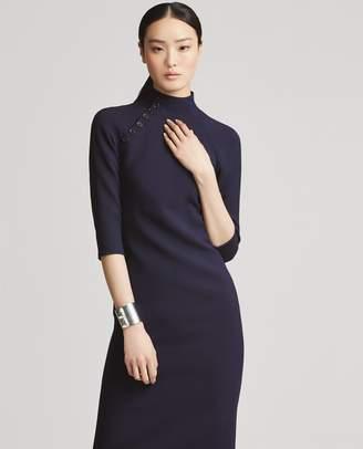 Ralph Lauren Button-Trim Wool-Silk Dress