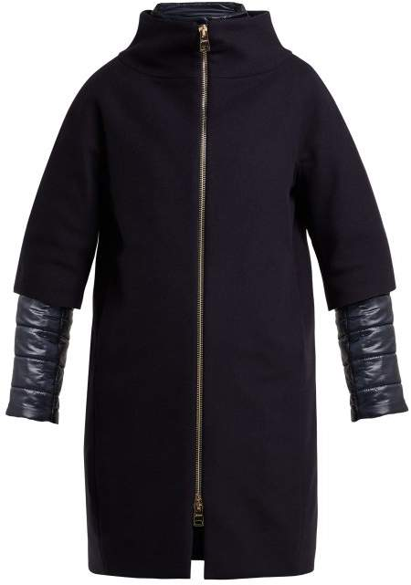 Single Breasted Wool Blend Coat - Womens - Navy