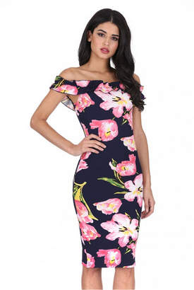 AX Paris Ruffle Bardot Floral Midi Dress