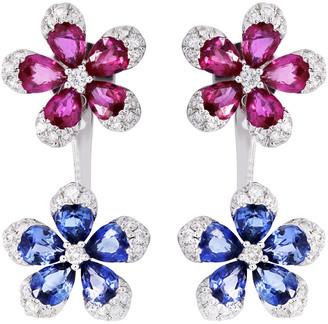Diana M Fine Jewelry 14K 3.43 Ct. Tw. Diamond & Gemstone Flower Earrings