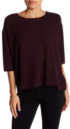 H By Bordeaux 3/4 Length Sleeve Boxy Hacci Top (Petite)