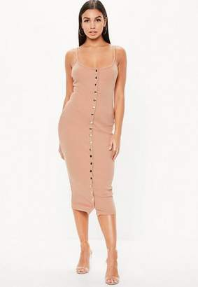 Missguided Tall Nude Strappy Ribbed Bodycon Midi Dress
