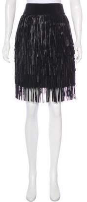 Giambattista Valli Leather-Tiered Fringe Skirt