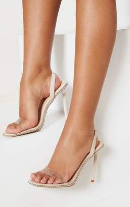 PrettyLittleThing Nude Slingback Clear Studded Sandal