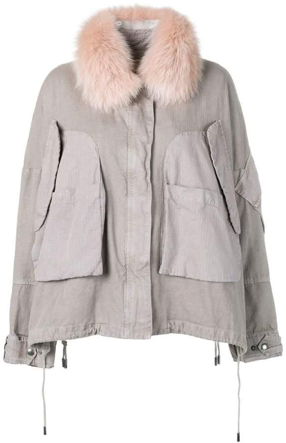 Army fur trim cropped parka