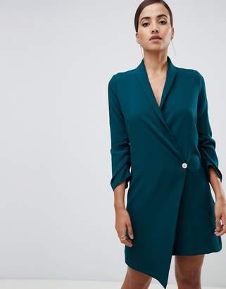 Vesper ruched sleeve asymmetric hem tuxedo dress in green
