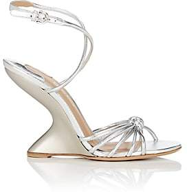 Salvatore Ferragamo Women's Sculpted-Heel Leather Ankle-Strap Sandals - Silver