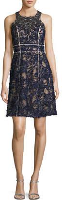 Marchesa Sleeveless Beaded Lace Cocktail Dress, Navy