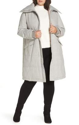 AVEC LES FILLES Menswear Plaid Puffer Coat