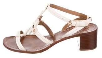 Tory Burch Leather Peep-Toe Sandals