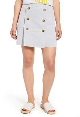 J.Crew J. Crew Stretch Seersucker Button Front Miniskirt