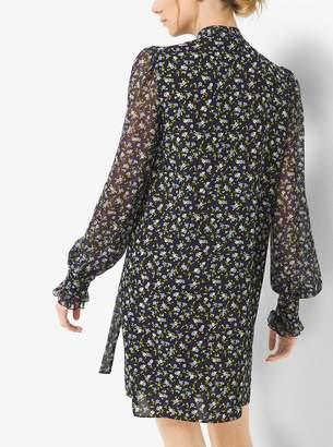 Michael Kors Floral Silk-Georgette Bow Shiftdress