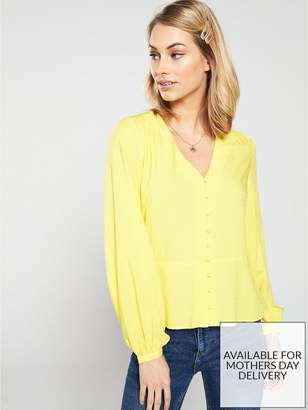 Warehouse V Neck Textured Button Top - Yellow