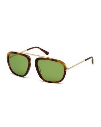 TOM FORD Johnson Medium Aviator Sunglasses, Havana/Green $940 thestylecure.com