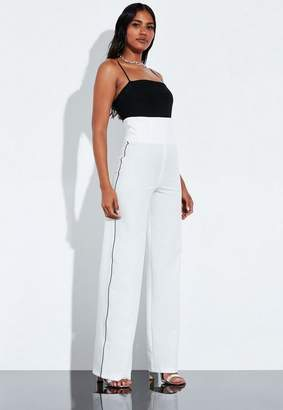 Missguided Ivory Contrast Piping Trousers
