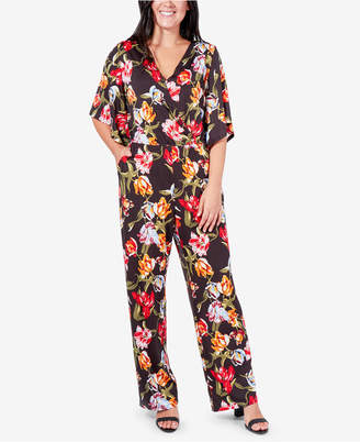 NY Collection Printed Surplice Kimono Jumpsuit