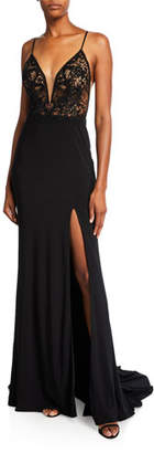 Faviana V-Neck Sleeveless Jersey Gown with Embroidered Bodice