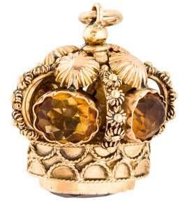 18K Citrine Crown Pendant