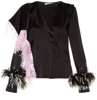 Feather-embellished satin blouse