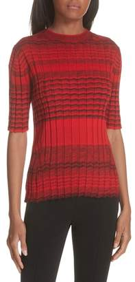 Helmut Lang Stripe Rib Knit Merino Wool Sweater