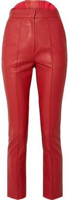 Pushbutton Faux Leather Skinny Pants - Brick