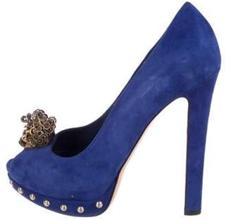 Alexander McQueen Suede Skull-Embellished Pumps Blue Suede Skull-Embellished Pumps