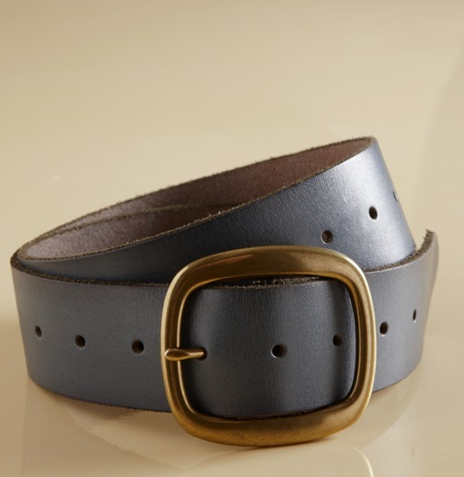 Brass Buckle Leather Belt