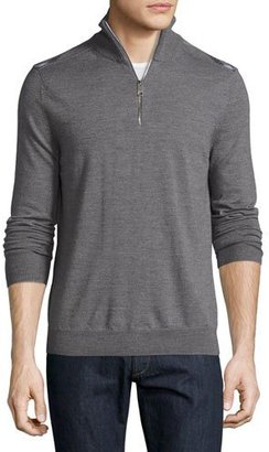 Burberry Merino Wool 1/2-Zip Sweater w/Check Shoulders, Mid-Gray Melange $350 thestylecure.com