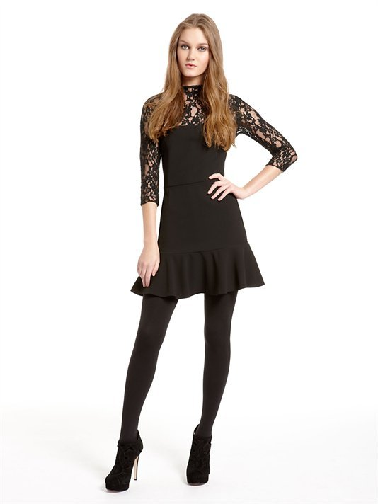 Three Quarter Sleeve Dress With Lace Yoke And Sleeves With Ruffle Hem