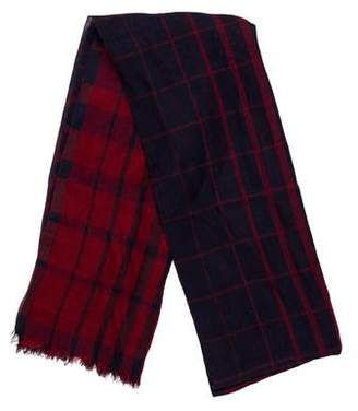 Salvatore Ferragamo Plaid Fringe Scarf