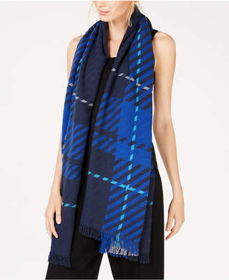 Eileen Fisher Recycled Cotton Plaid Fringe-Trim Scarf