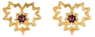 Saint Laurent Textured Crystal Heart Clip-On Earrings