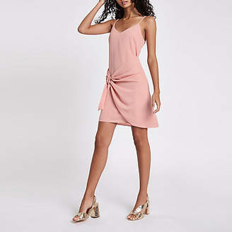 River Island Light pink knot front slip dress