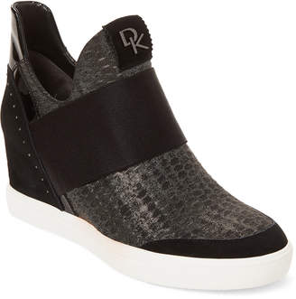 Donna Karan Gunmetal & Black Studded Cailin Wedge Slip On Sneakers