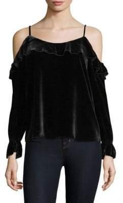 Joie Alyse Velvet Cold-Shoulder Blouse