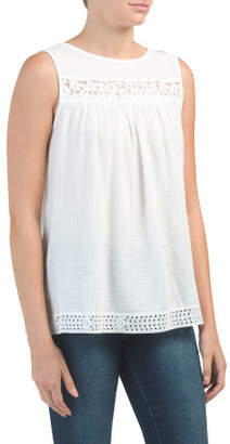 Sleeveless Lace Gauze Top