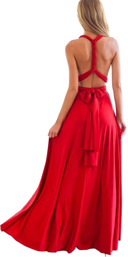 IBTOM CASTLE Women's Transformer/Wrap Infinity Solid Maxi Cocktail Dress 10/L