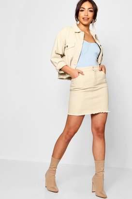 boohoo Christine Ecru Denim Mini Skirt