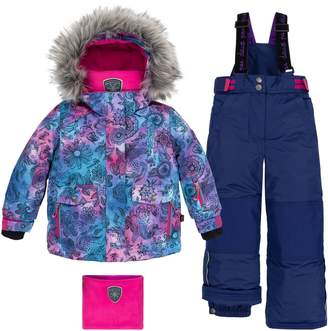Deux Par Deux Girl's Winter Solstice Unicorns 2-Piece Water-Repellent Faux Fur-Trim Jacket, Snowsuit Neck Warmer Set