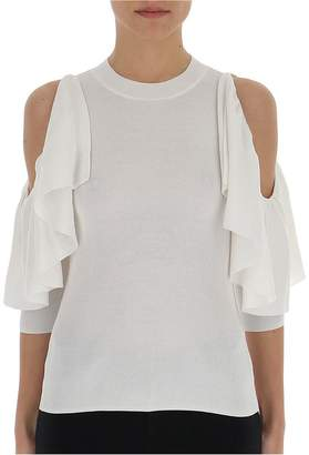 See by Chloe Cut Out Ruffled Shoulder Knitted Top