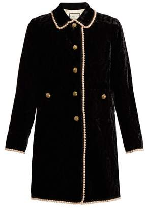 Gucci Faux Pearl And Crystal Embellished Velvet Jacket - Womens - Black