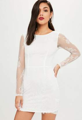 Missguided White Lace Bodycon Dress