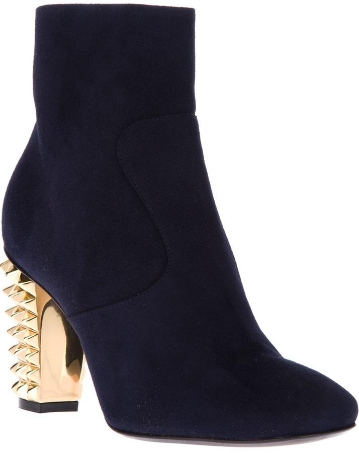 Fendi stud heel ankle boot
