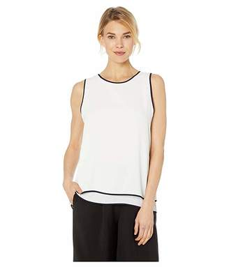 6195bb140b0881 Vince Camuto Sleeveless Double Layered Contrast Piping Blouse