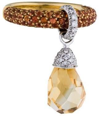 Ring 18K Diamond, Sapphire & Citrine Dangle Cocktail